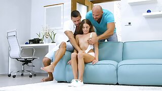 Na�ve babe is ready for her first anal threesome