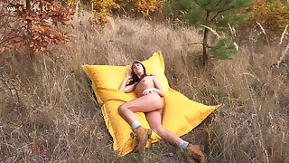 Amazing Sabrisse sheds will not hear of garments and rubs one out in the great outdoors