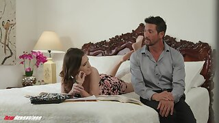 Stepdad satisfies his stepdaughter's craving for a hard cock with an increment of she is so hot