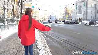 Cute Russian hitchhiker gets keister fucked by a stranger