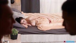 Dude fulfills his sleeping GF's sexual fantasy coupled with Kiara loves dick