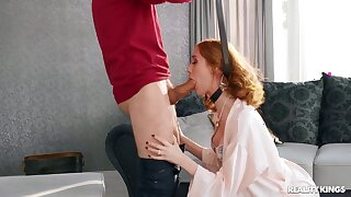 Redhead gets hard fucked after being choked and spanked