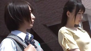 Asian Schoolgirl Lesbian and Bus on Public Bus