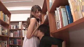 Cute Japanese Non-specific with big tits as a result horny with the addition of fucked enduring in library