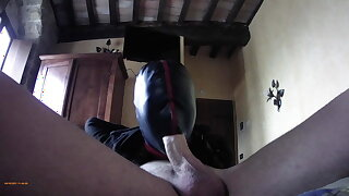 leap and roughly deepthroating a cock in stockings and high heels
