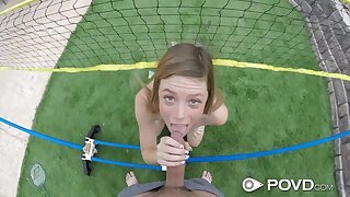 Imported badminton player Mia Collins gives a blowjob and rides a detect reverse and face to face