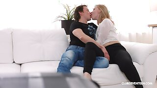 Insolent blonde shares the couch for intimate pleasure