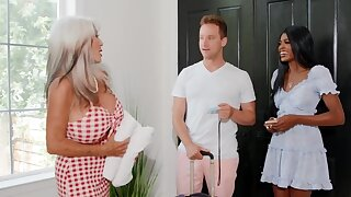 Hotel owner is blistering and wants sex with the interracial couple