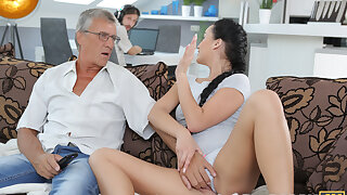 DADDY4K. Darkhaired Babe satisfies her sexual needs using fornicate